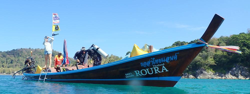 ロングテールボートでダイビング